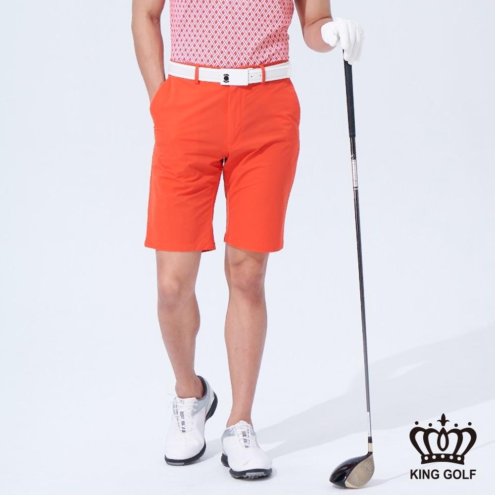 【KING GOLF】亮彩修身彈性高爾夫球短褲-橘色