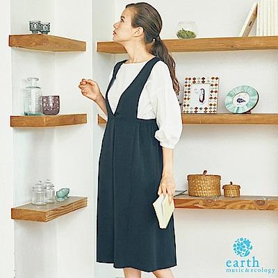 earth music 【SET ITEM】V領吊帶洋裝+落肩蓬袖上衣
