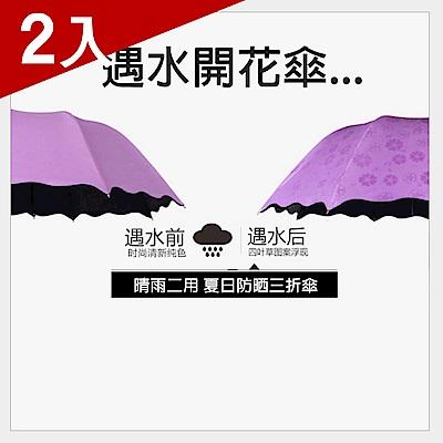 [X-BIKE] 晴雨兩用 95cm傘面女士直炳荷葉邊摺疊傘 遇雨變色傘面/加厚抗UV黑膠 XUB-T311 (兩入)