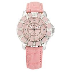 Manlike 曼莉萊克 陶瓷限量機械女錶 粉紅色皮帶