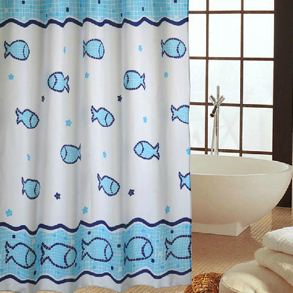 時尚高級加厚型防水浴簾-藍色小魚