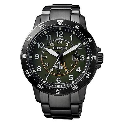 CITIZEN 星辰光動能雙時區方位時尚手錶(BJ7095-56X)-綠X黑/44mm