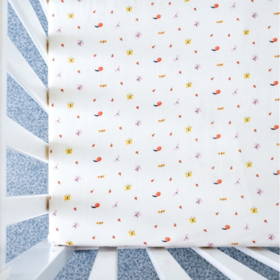 【台灣 Organic B 有機比比】嬰兒有機棉紗床包-蝴蝶蜻蜓飛
