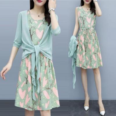 中大尺碼蘋果綠薄針織綁帶罩衫加樹林印花背心裙套裝XL~4L-Ballet Dolly