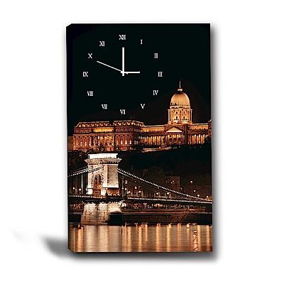 美學365-單聯式直幅 掛鐘無框畫-夜都市-40x60cm