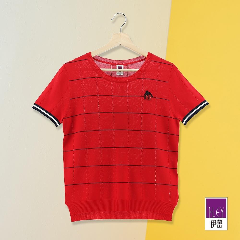 ILEY伊蕾 俏皮瓢蟲撞色條紋針織上衣(藍/紅)