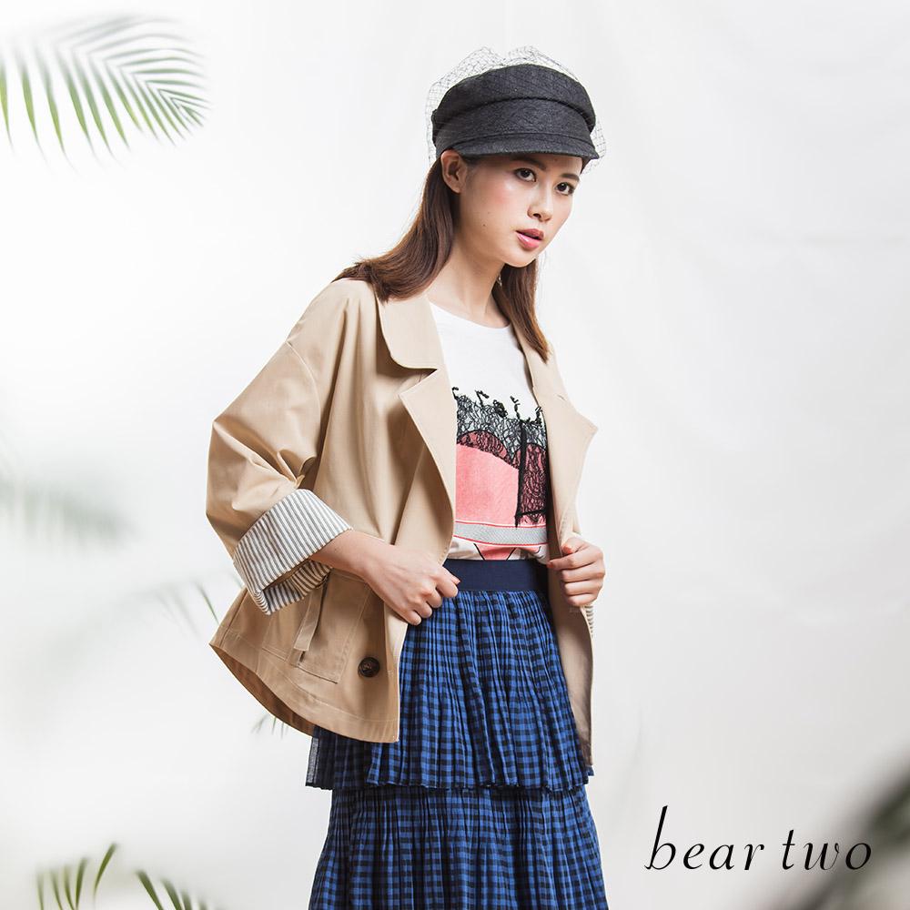beartwo 星球蕾絲拼接七分袖上衣(二色)