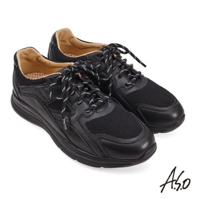 A.S.O 機能休閒 萬步健康鞋 牛皮拼接透氣網布休閒鞋-黑軟皮