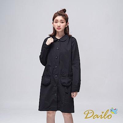 Dailo INLook 小熊造型口袋長版及膝洋裝(黑色)