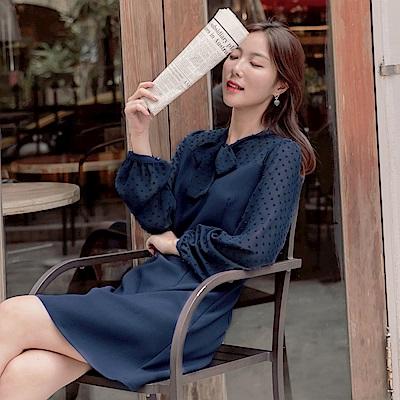 純色微透膚立體點點織紋修身剪裁雪紡洋裝-OB大尺碼