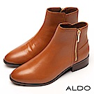 ALDO 原色真皮前高後低筒圍尖頭金屬拉鍊粗跟靴~氣質焦糖