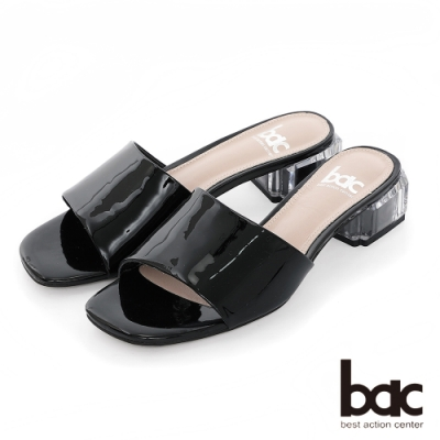 【bac】紐約不夜城 - 軟漆一片式透明水晶粗跟拖涼鞋-黑