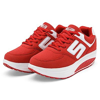 韓國KW美鞋館 完美曲線自然擁有進口皮面健走鞋-紅色