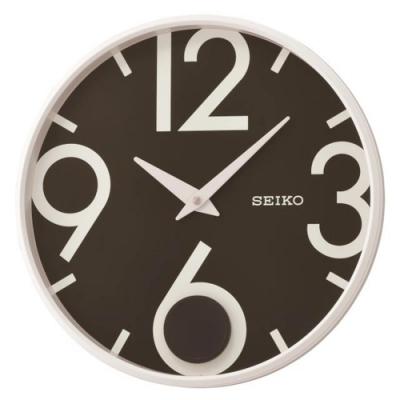 SEIKO 日本精工 簡約時尚 搖動擺錘 時鐘(QXC239W)33cm