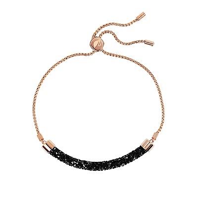 SWAROVSKI 施華洛世奇 璀璨黑水晶可調節玫瑰金手鍊手環