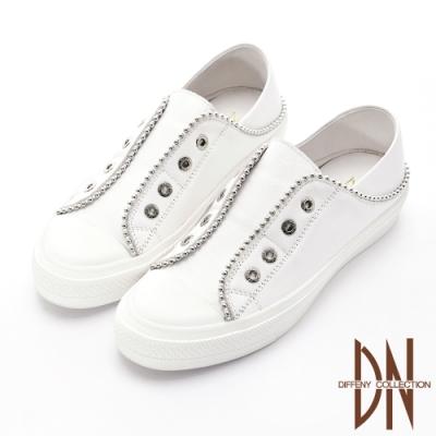 DN休閒鞋_實穿軟牛皮造型鞋面二穿休閒鞋-白
