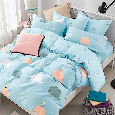 La Lune 台灣製100%40支精梳純棉雙人加大床包枕套三件組 藍色多瑙河