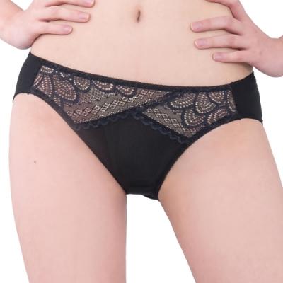 思薇爾 花月夜系列M-XL蕾絲低腰三角內褲(黑色)