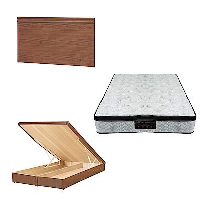 綠活居 可娜6尺雙人加大床台三式組合(床頭片+後掀床底+正三線涼感獨立筒)五色可選