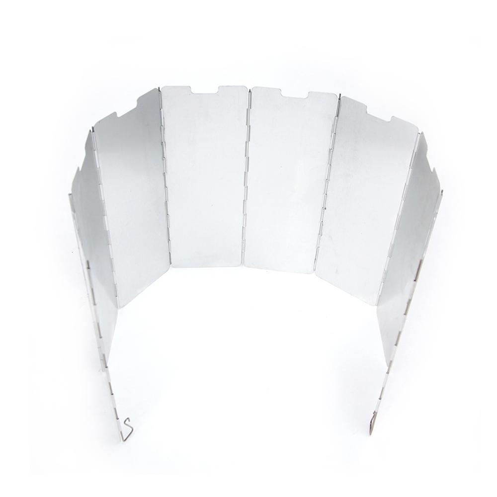 8片式鋁合金折疊瓦斯爐隔熱擋風板附收納袋.戶外登山露營野炊輕量便攜摺疊防風板