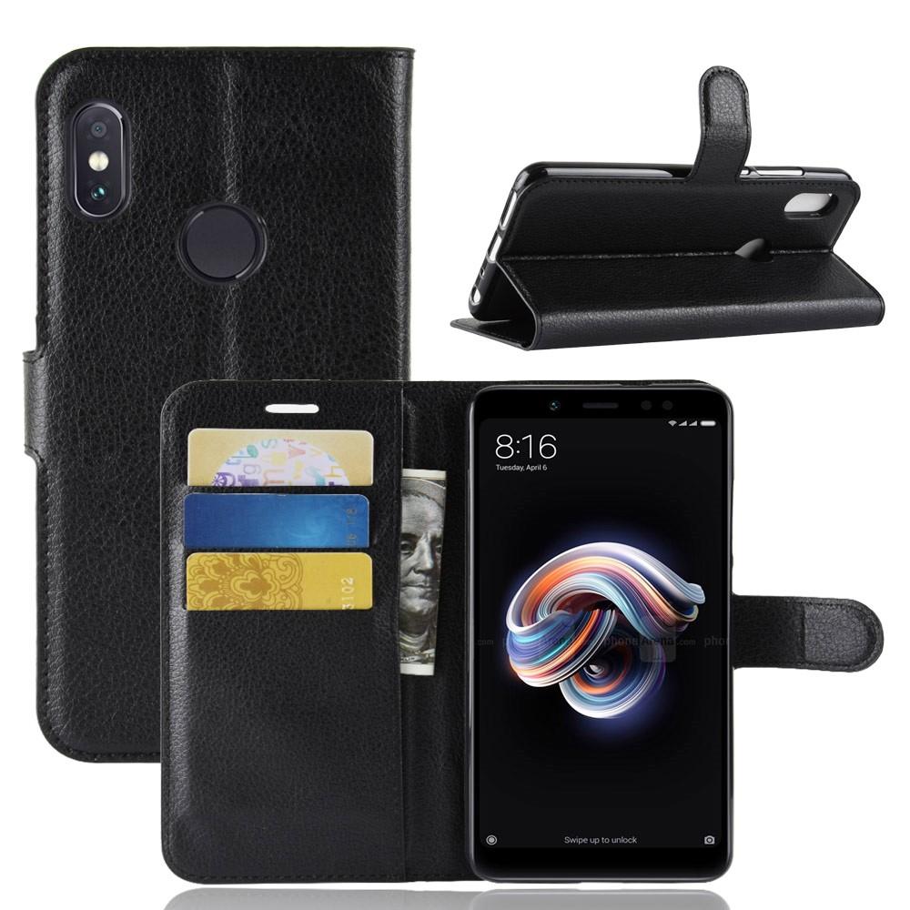 PKG For:紅米Note5 皮套側翻式-精選皮套-經典款式-黑