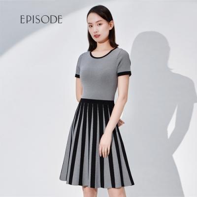 EPISODE - 裙擺黑白撞色拼接修身顯瘦短袖針織洋裝