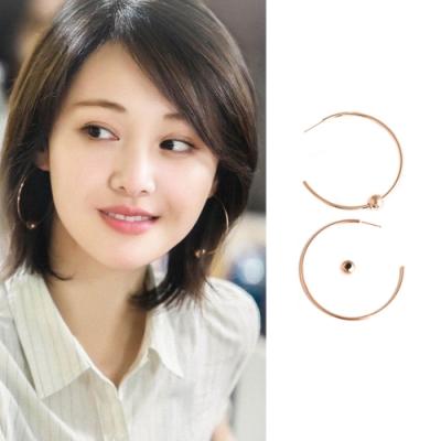 梨花HaNA 韓國流淌的美好時光S925大圈金珠耳環