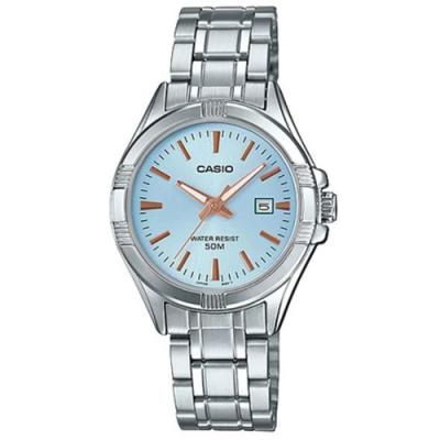 CASIO 白領都會經典不鏽鋼日曆腕錶(LTP-1308D-2A)/ 藍