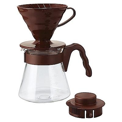 HARIO-V60棕色濾泡咖啡壺組1~4杯 700ml / VCSD-02CBR