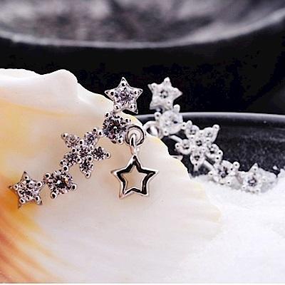 米蘭精品 925純銀耳環-連排星星鑲鑽耳環