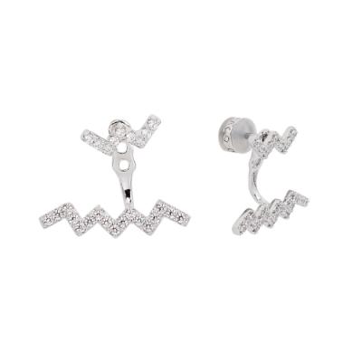 apm MONACO法國精品珠寶 閃耀鑲鋯波浪曲線造型銀色耳環