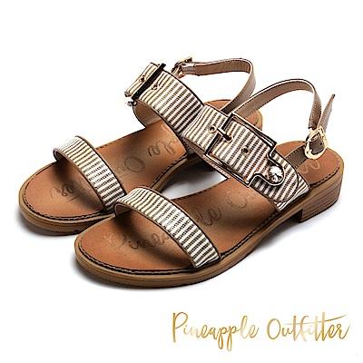 Pineapple Outfitter 海軍風範 金屬扣條紋寬版平底涼鞋-棕色