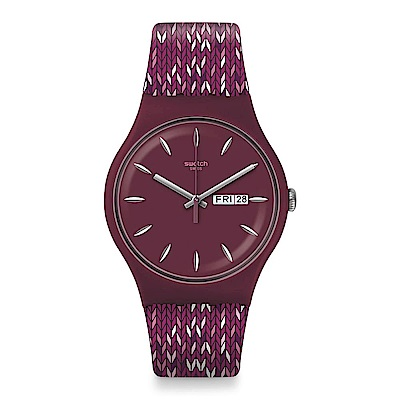 Swatch TRICO PURP 針織軟呢手錶