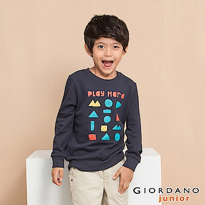 GIORDANO 童裝童趣印花長袖T恤-13 標誌海軍藍