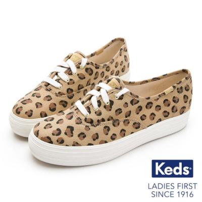 Keds TRIPLE 狂野豹紋帆布休閒鞋-豹紋