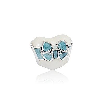 Pandora 潘朵拉 白色之戀x藍緞帶 琺瑯純銀墜飾 串珠