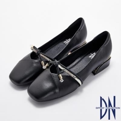 DN跟鞋_異材質拼接蝴蝶結真皮素面低跟鞋-黑