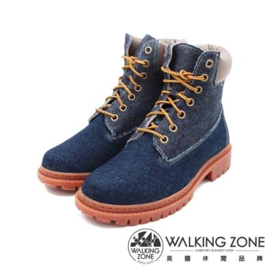 WALKING ZONE(女)經典牛仔玩色款 7孔高筒鞋靴 女鞋-牛仔藍