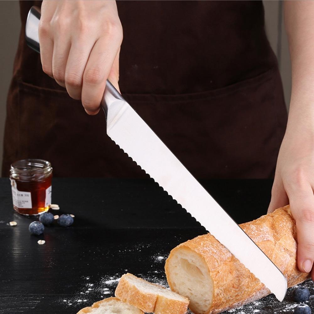 PUSH!廚房用品不銹鋼鋸齒刀切土司麵包刀切片刀蛋糕烘焙刀8寸D218