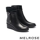 短靴 MELROSE 別致時尚燙鑽鍊條異材質楔型高跟短靴-黑