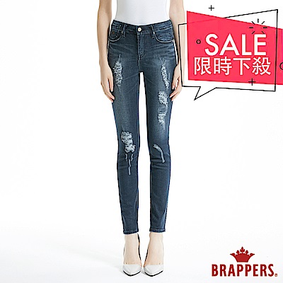 BRAPPERS 女款 新美腳Royal系列-中低腰不規則割破窄管褲-藍