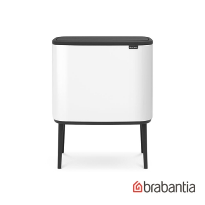 【Brabantia】BO TOUCH 時尚按壓式垃圾桶(11L+23L) 純淨白