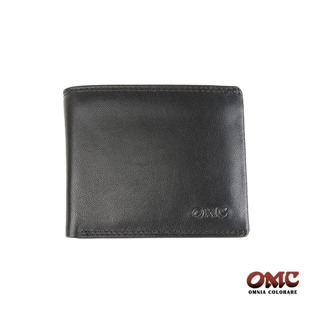 OMC 素面牛皮10卡中間翻活動式透明窗男短夾-黑色