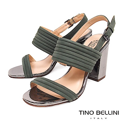 Tino Bellini 巴西進口優雅環型條帶高跟涼鞋 _ 綠