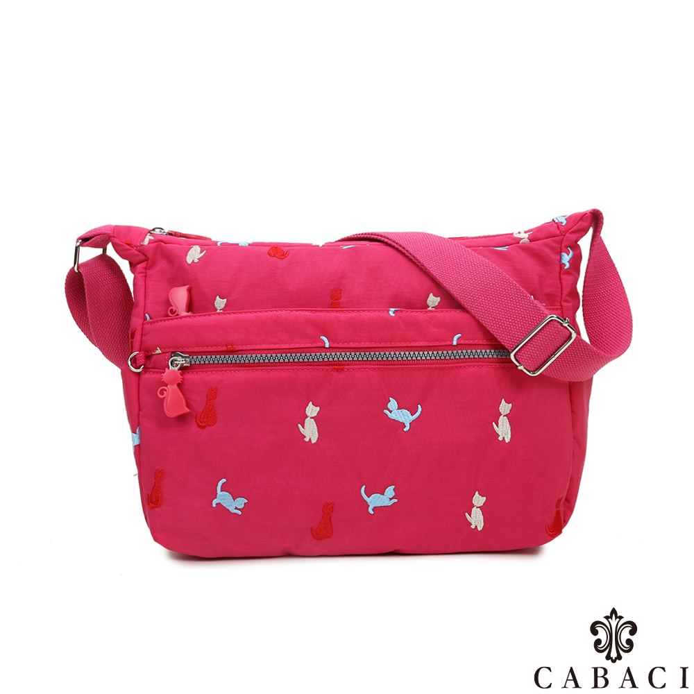 CABACI 淘氣小貓繡線多隔層斜背包-桃紅色