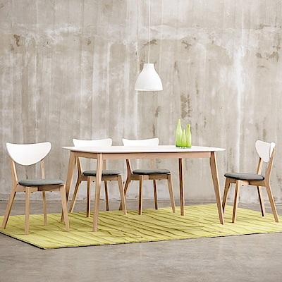 AS-派特蘿配色餐桌椅組(1桌4椅)-120x75x74.5cm