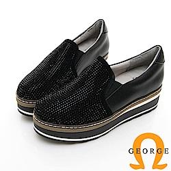 【GEORGE 喬治皮鞋】水鑽舒適彈力拼接厚底休閒鞋-黑色