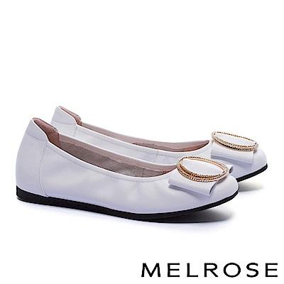 娃娃鞋 MELROSE 內斂知性閃鑽飾舒適全真皮娃娃鞋-白