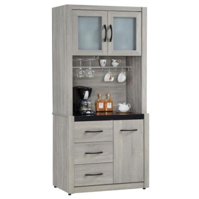 【AT HOME】簡約現代2.8尺鋼刷淺灰色碗盤櫃(上+下)/餐櫃/收納櫃/餐櫥櫃-清心