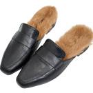 AIR SPACE 質感皮革絨毛穆勒鞋(黑)